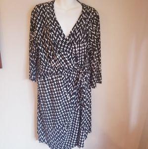 Lane Bryant wrap dress in herringbone pattern